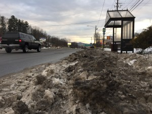 Plows made conditions worse at bus stops. When service resumed the chunks of ice and snow deposited there by plows created miserable conditions.