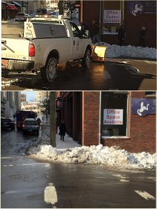 This plow operator deliberately moved snow from parking lanes to a crosswalk. He then pushed the snow against the curb ramp, blocking pedestrian access.
